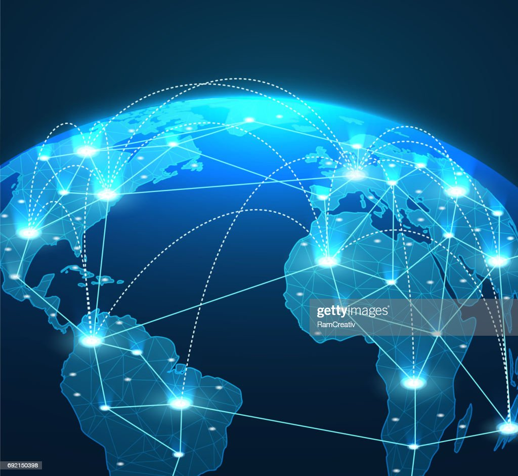 Internet concept of global network connections, lines and communications.