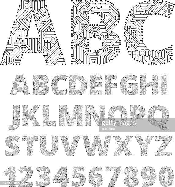 Internet connections circuit board vector font design.