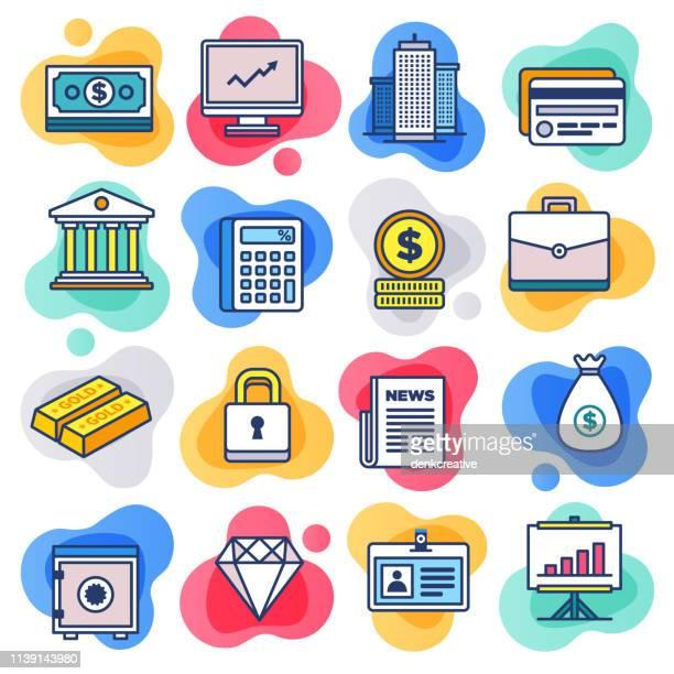Internet, Crowdfunding & Banking Flat Line Liquid Style Vector Icon Set