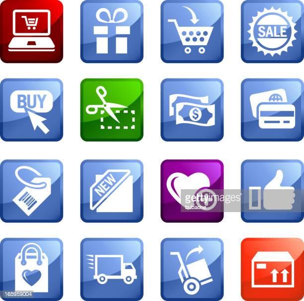 Internet del comercio electrónico sin royalties de vector icon set pegatinas