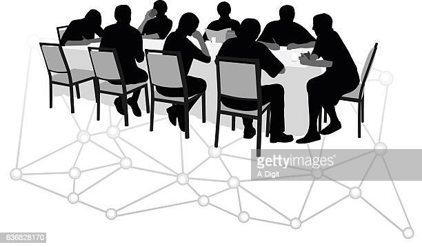 internet executive discusion - lunch break stock illustrations, clip art, cartoons, & icons