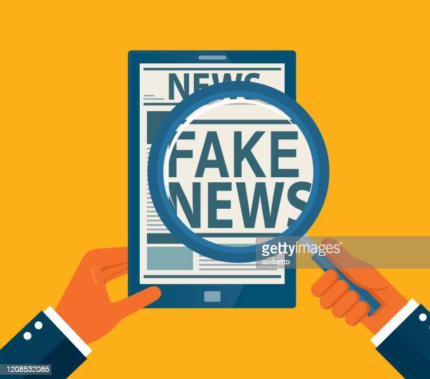 stockillustraties, clipart, cartoons en iconen met internet fake news - nepnieuws