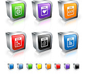Internet Files 3D vector icon set with Metal Rim