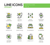 Internet - flat design line icons set