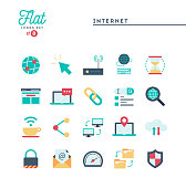 Internet, global network, cloud computing, free WiFi and more, flat icons set
