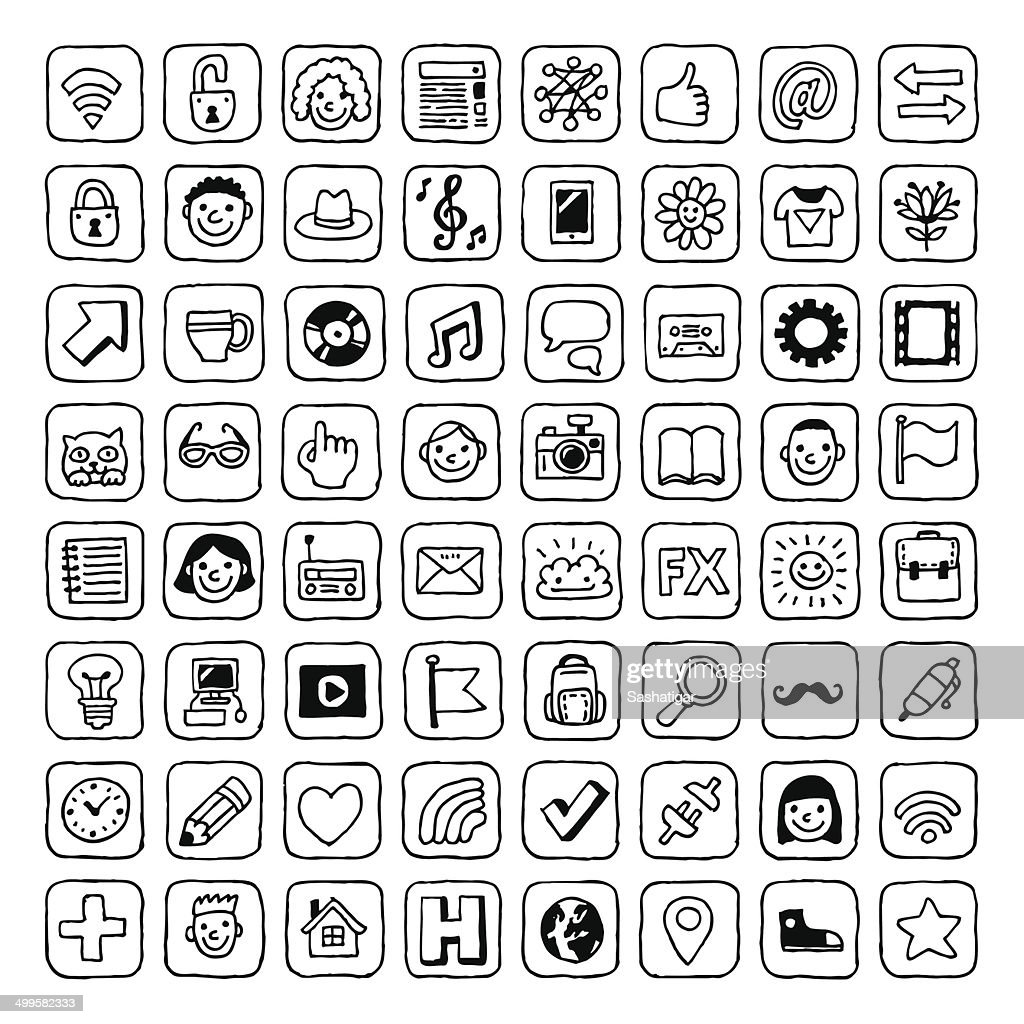 Internet hipster icons set. Vector. Hand drawn. Black and white