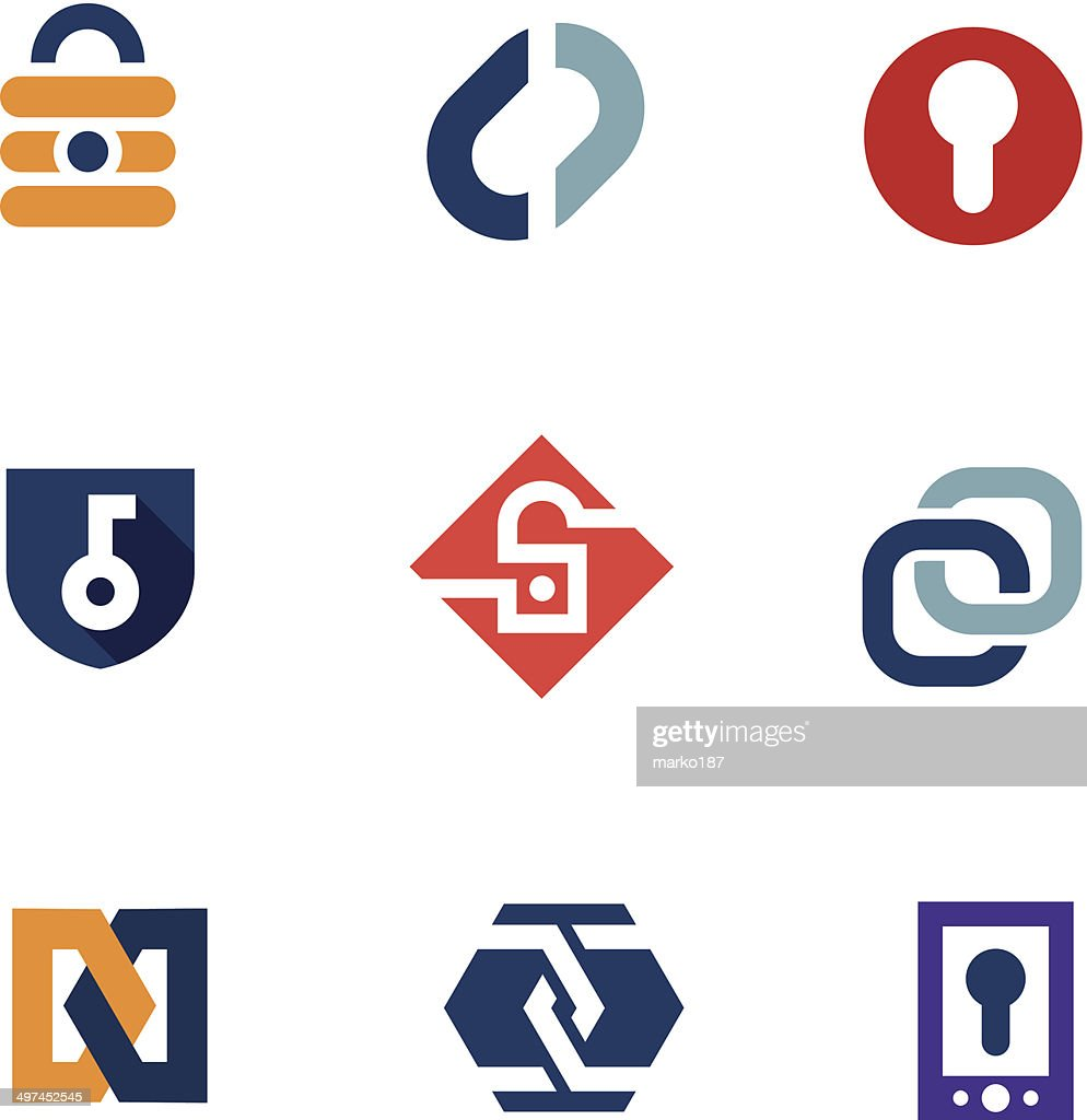 Internet home secure lock security system technology logo icons
