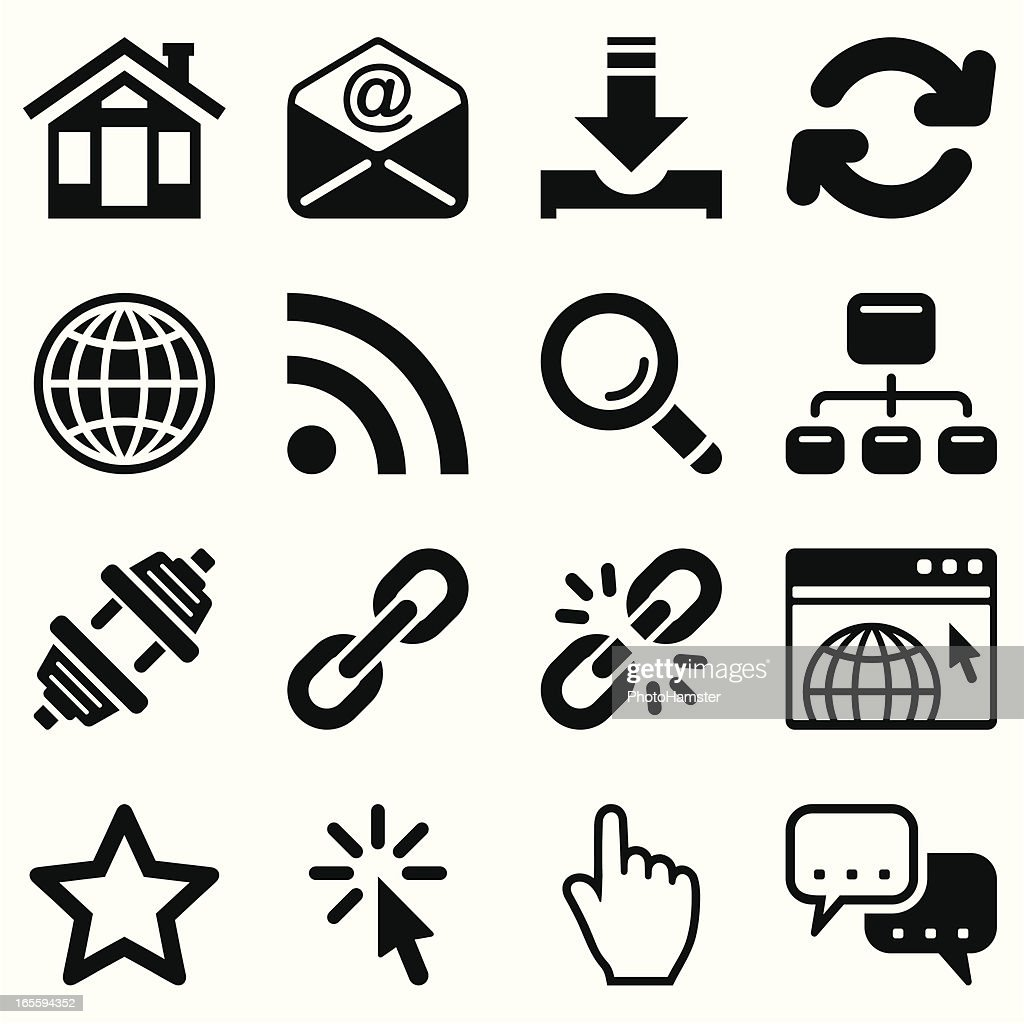 internet icon set black