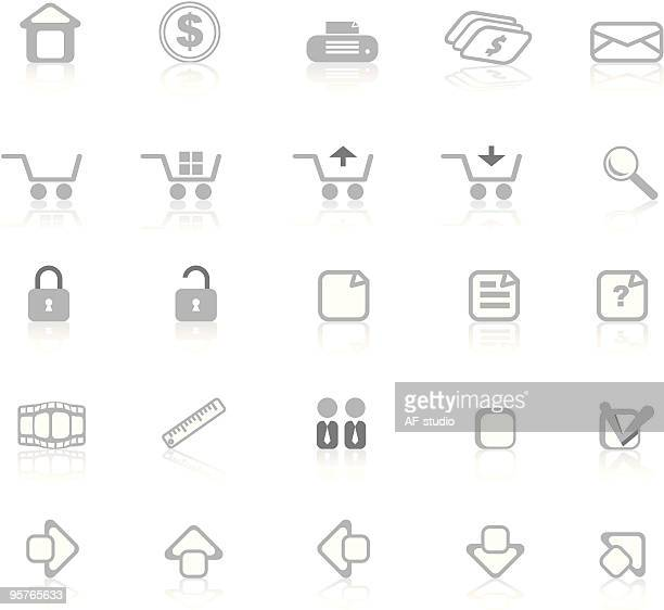 Internet Icon Set - Gray, simply isolated icons
