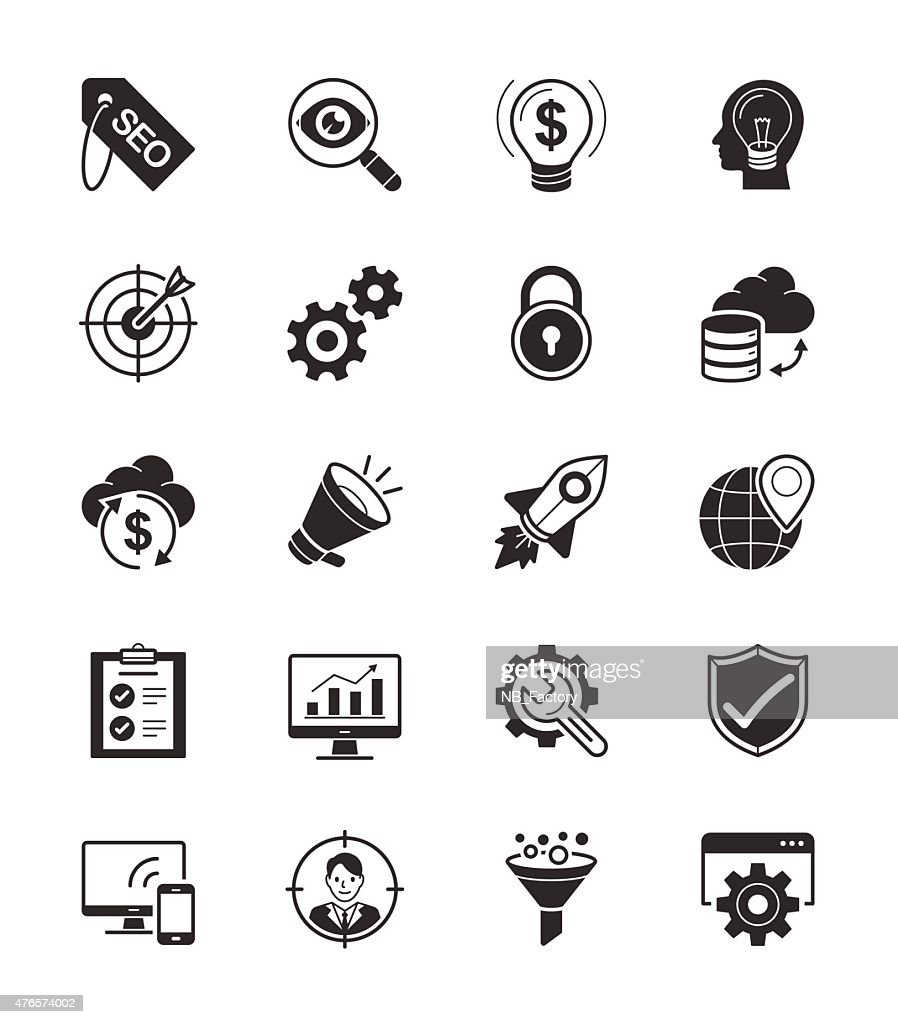 SEO & Internet icon set on White Background Vector Illustration