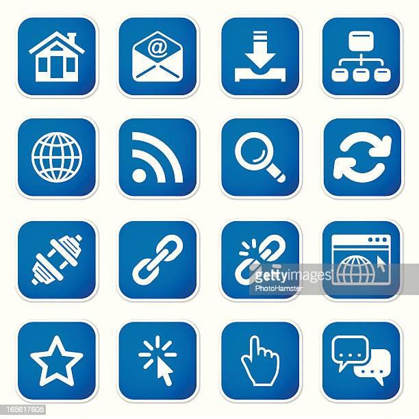 ilustrações, clipart, desenhos animados e ícones de conjunto de ícones m adesivos à internet - www