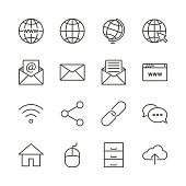 Internet icon set vector. Line network symbol collection isolated. Trendy message flat outline ui sign design. Thin linear graphic pictogram for web site, mobile application. Logo illustration. Eps10