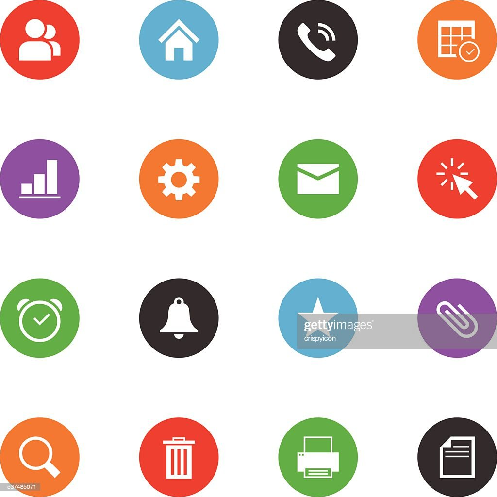 Internet icons on colored buttons on white background