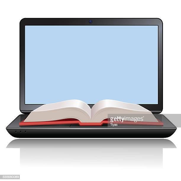 ilustrações, clipart, desenhos animados e ícones de aprendizagem à internet - livro de capa dura