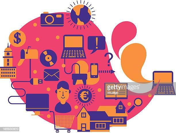 internet life - finanzen und wirtschaft stock illustrations