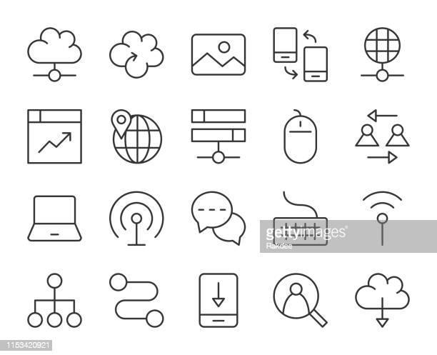 internet - light line icons - transfer image stock illustrations