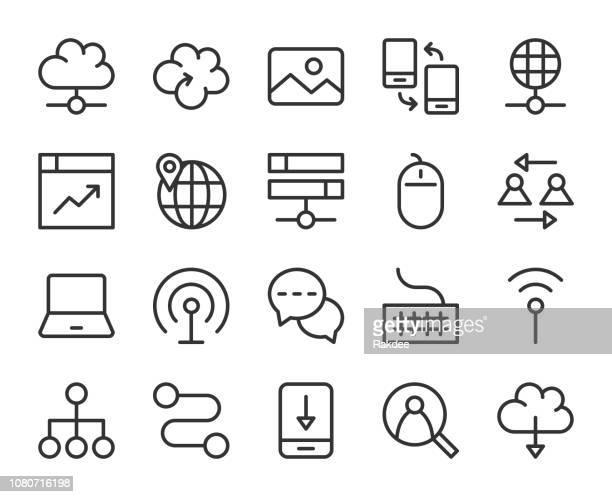 internet - line icons - transfer image stock illustrations