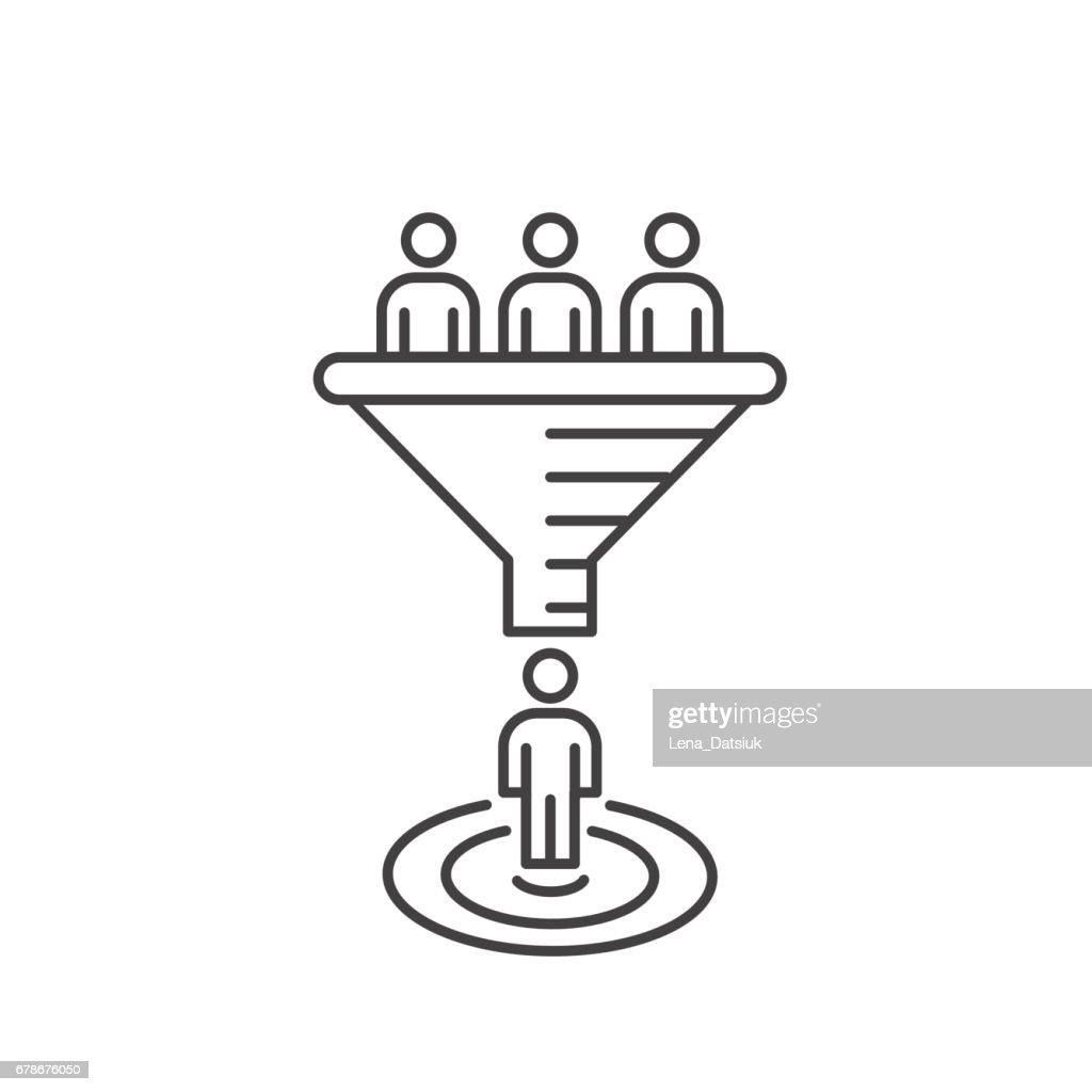Internet marketing conversion concept. Vector sales funnel.
