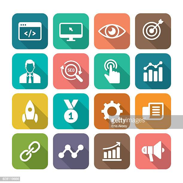 internet marketing flat icon set - online advertising stock illustrations, clip art, cartoons, & icons