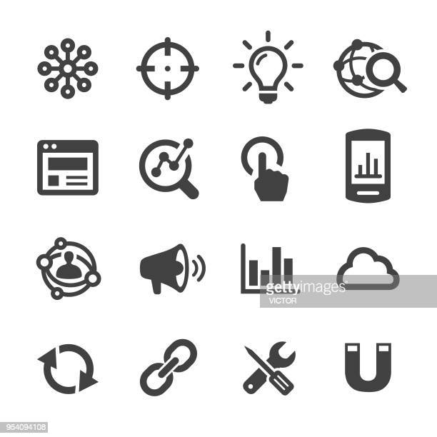 internet marketing icon - acme series - solutions stock illustrations
