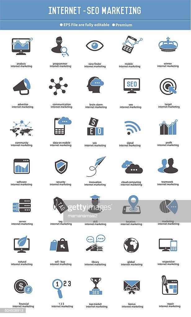 SEO - Internet marketing icon set blue icons,vector