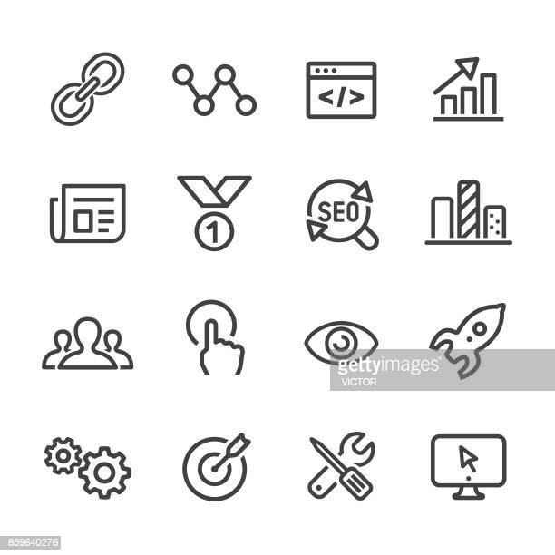 internet marketing icons - line series - connection stock illustrations, clip art, cartoons, & icons