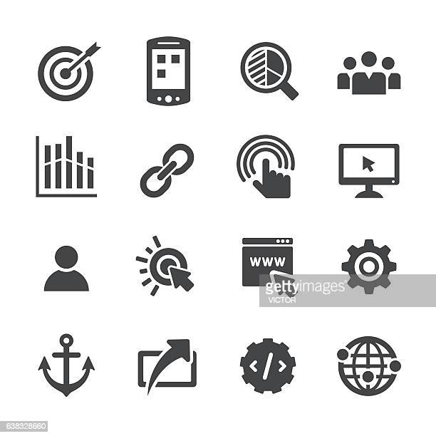 ilustraciones, imágenes clip art, dibujos animados e iconos de stock de internet marketing icons set - acme series - analizar