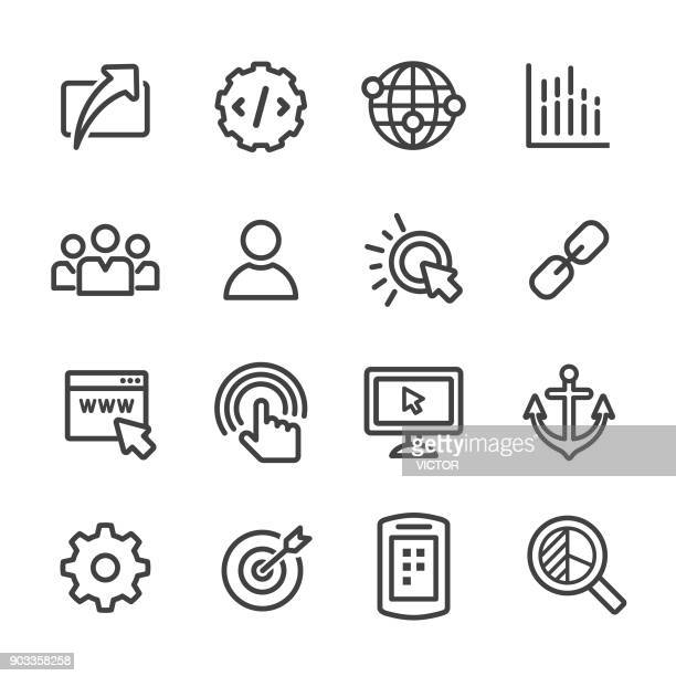 internet marketing icons set - line series - group of objects stock illustrations