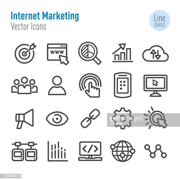 illustrations, cliparts, dessins animés et icônes de set d'icônes - vecteur ligne série en marketing internet - marketing numérique