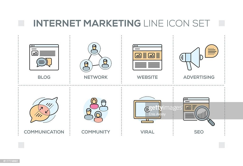 Internet Marketing keywords with line icons
