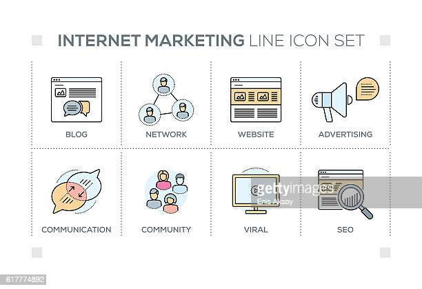 internet marketing keywords with line icons - online advertising stock illustrations, clip art, cartoons, & icons