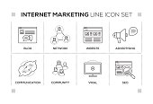 Internet Marketing keywords with monochrome line icons