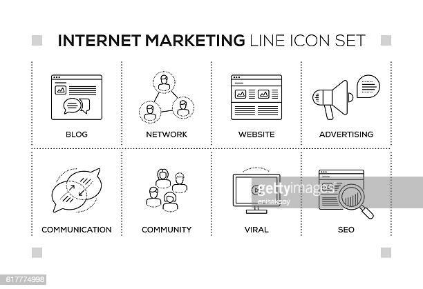 internet marketing keywords with monochrome line icons - online advertising stock illustrations, clip art, cartoons, & icons