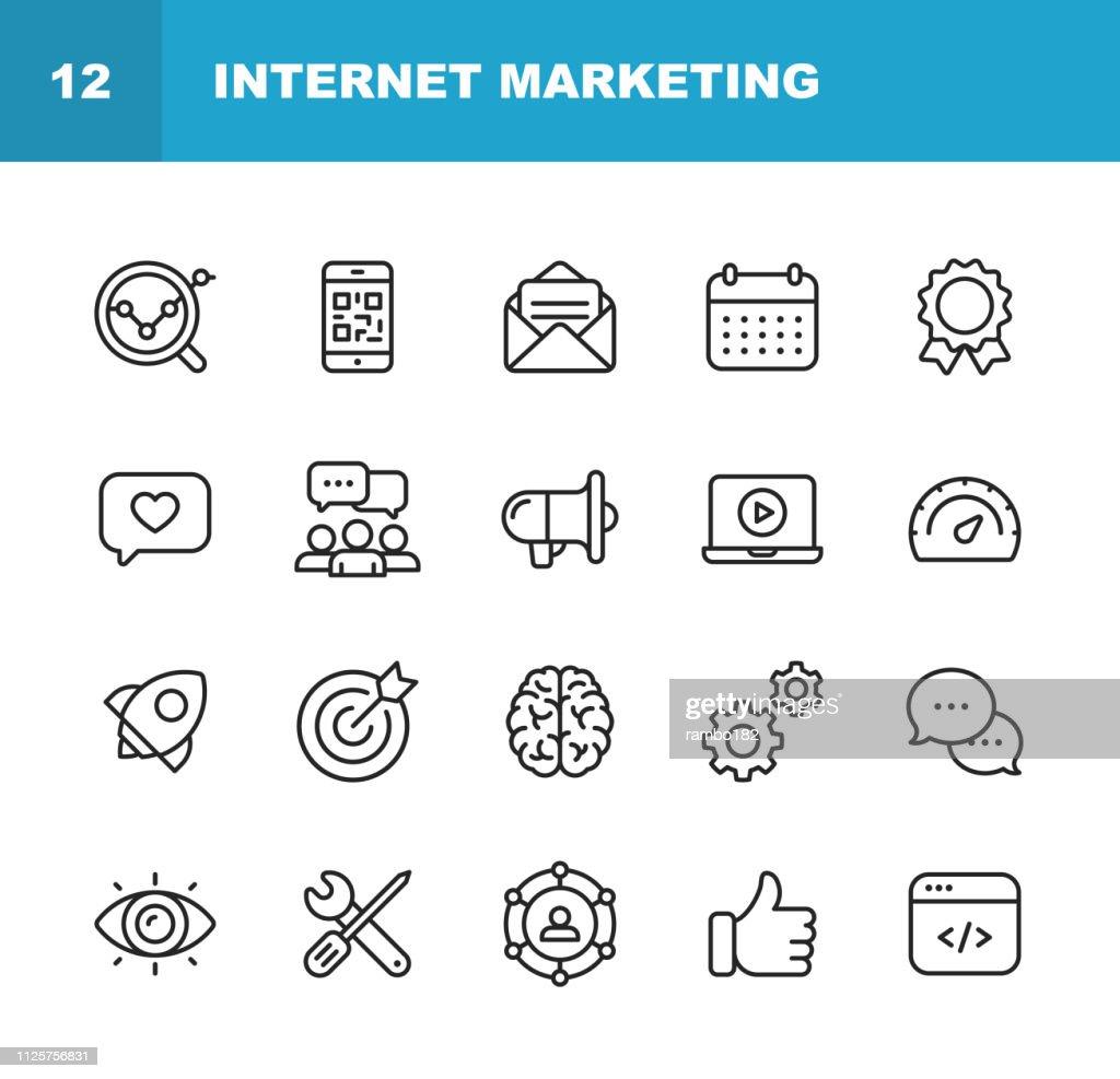 Internet Marketing Linie Symbole. Editierbare Schlaganfall. Pixel Perfect. Für Mobile und Web. Enthält Ikonen wie Digital Marketing, Social Media Marketing-Strategie, Brainstorming, teilen und kommentieren. : Stock-Illustration