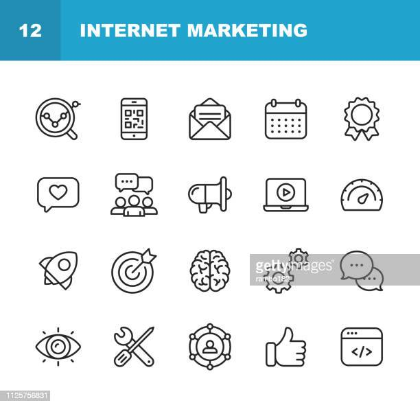 ilustrações de stock, clip art, desenhos animados e ícones de internet marketing line icons. editable stroke. pixel perfect. for mobile and web. contains such icons as digital marketing, social media, marketing strategy, brainstorming, sharing and commenting. - contente