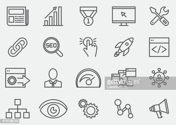 ilustrações de stock, clip art, desenhos animados e ícones de internet marketing line icons | eps 10 - online advertising