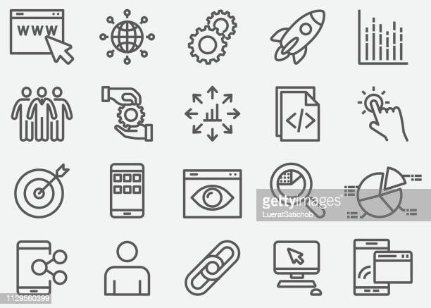 internet marketing line icons - work tool stock illustrations
