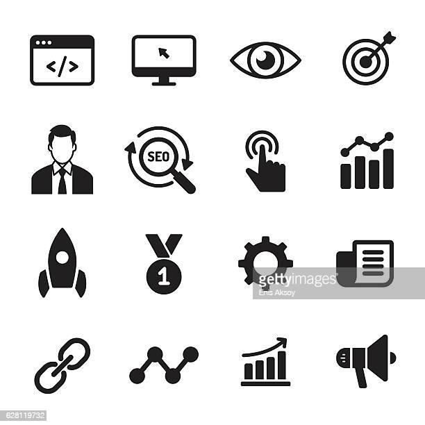 internet marketing monochrome icons - online advertising stock illustrations, clip art, cartoons, & icons