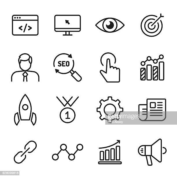 Internet Marketing monochrome line icons