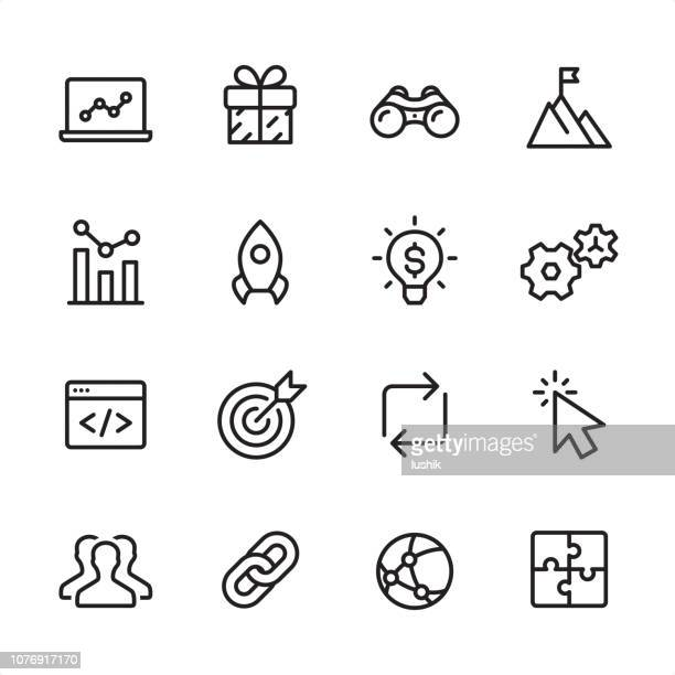 internet marketing - outline icon set - traffic stock illustrations