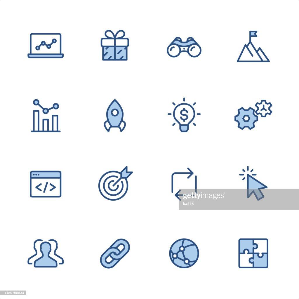 インターネットマーケティング - ピクセルパーフェクトブルーのアウトラインアイコン : ストックイラストレーション