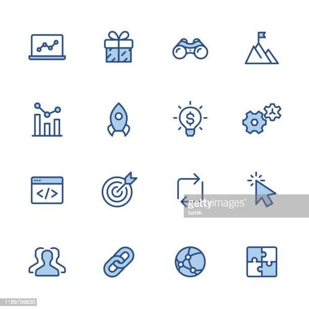インターネットマーケティング - ピクセルパーフェクトブルーのアウトラインアイコン - ソフトウェアアップデート点のイラスト素材/クリップアート素材/マンガ素材/アイコン素材
