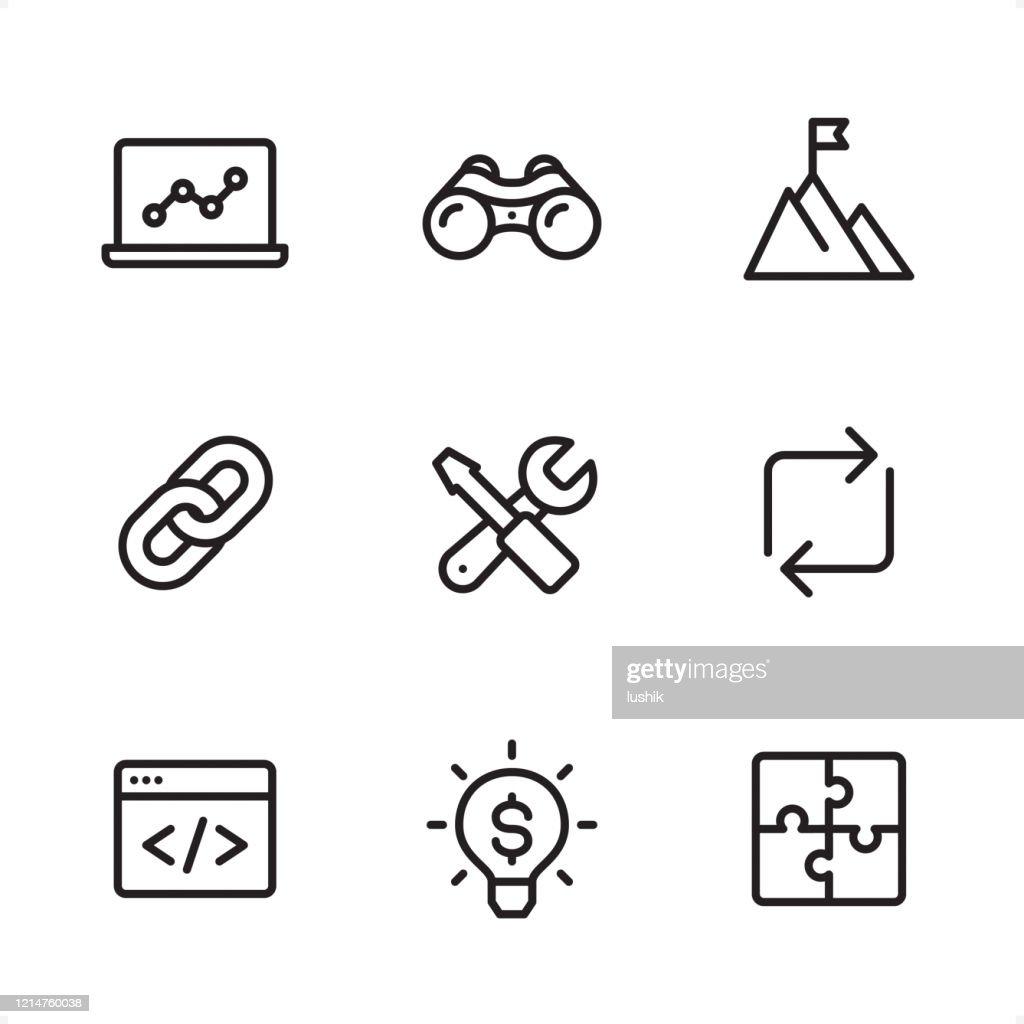 インターネット マーケティング - 単一行アイコン : ストックイラストレーション