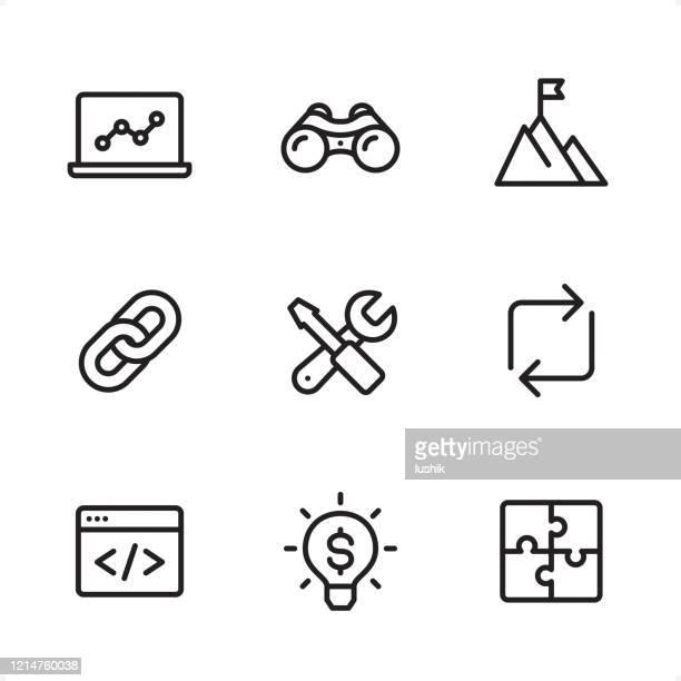 インターネット マーケティング - 単一行アイコン - ソフトウェアアップデート点のイラスト素材/クリップアート素材/マンガ素材/アイコン素材