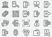 Internet Mobile Banking Line Icons