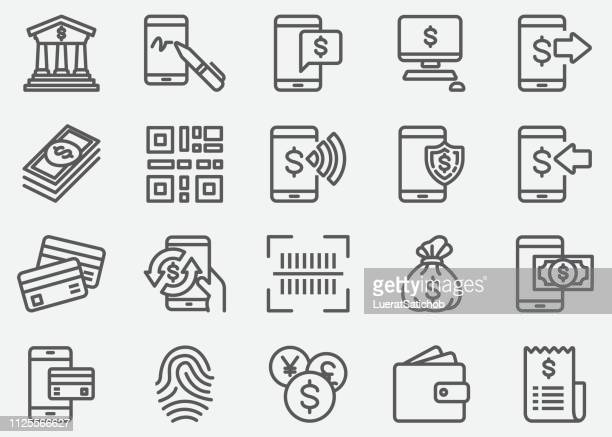 internet mobile banking line icons - mobile phone stock illustrations