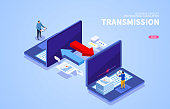 Internet network files transfer to each other