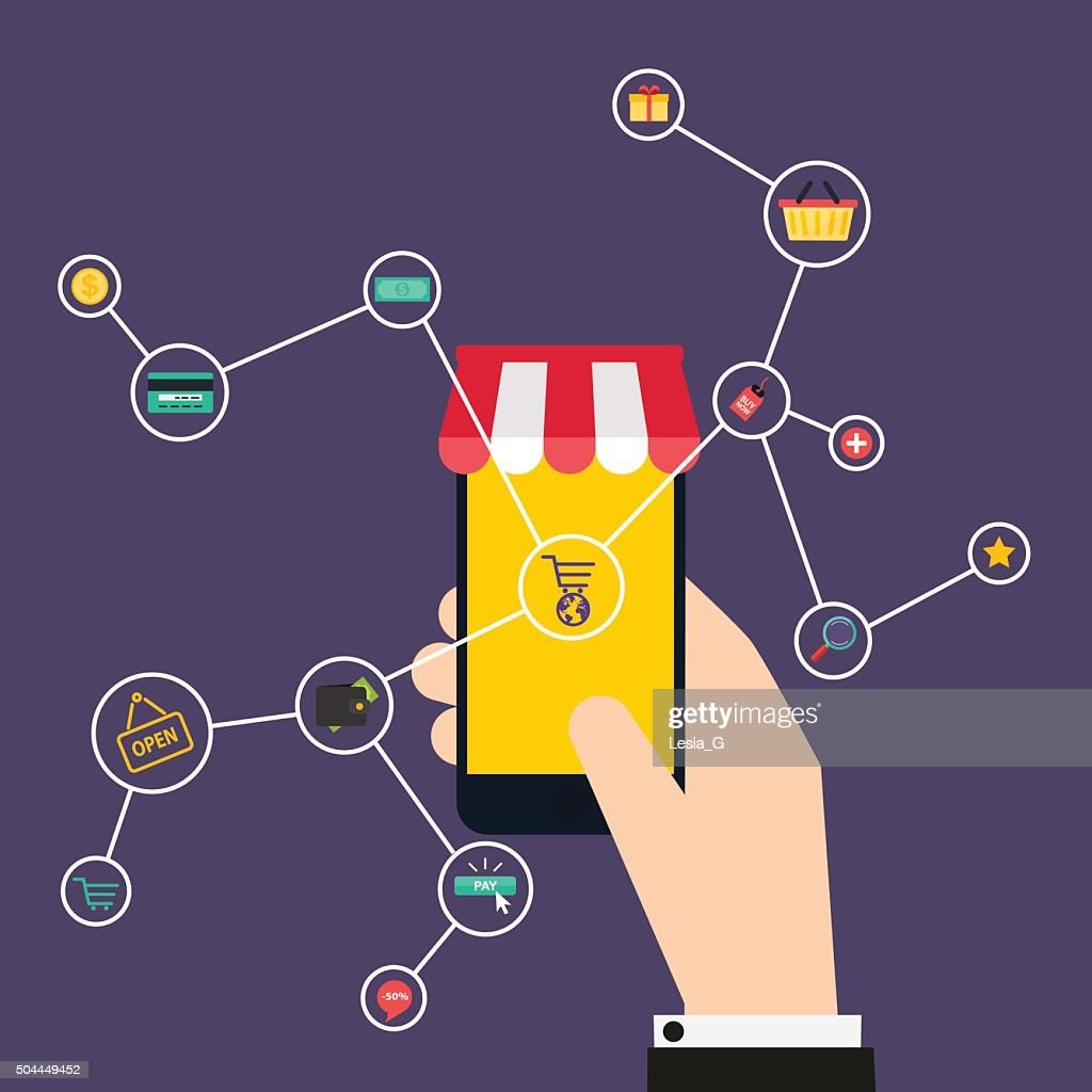 Internet of Things concept. Shopping icons. Hand holding a smart