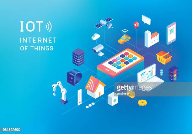illustrazioni stock, clip art, cartoni animati e icone di tendenza di internet of things concept - internet delle cose