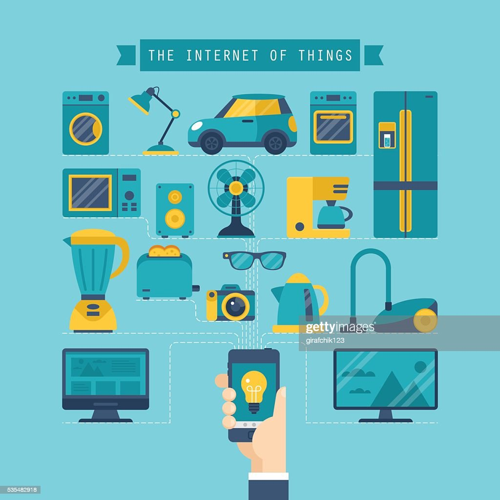 Internet of things concept with flat icons of home appliances